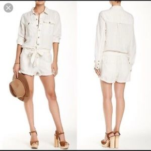 Free People pin stripped linen romper